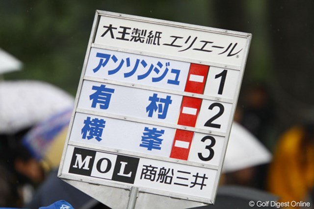 2011年 大王製紙エリエールレディスオープン 初日 第11組 ん?賞金ランキング?いえ、偶然にスコアが・・・。