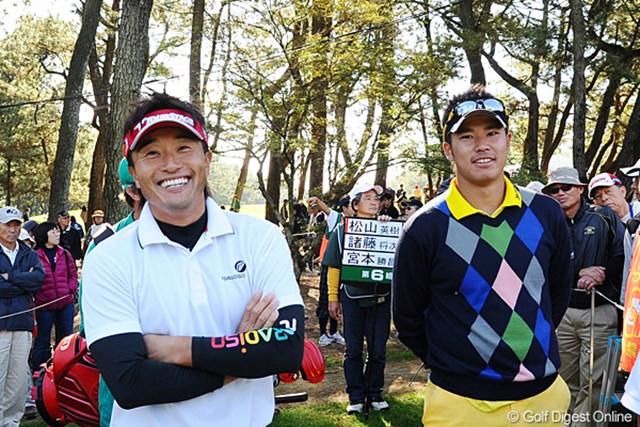 2011年 ダンロップフェニックストーナメント 最終日 宮本勝昌、松山英樹 トメちゃんが松山君との2ショットを所望してると聞いてたんでサービス!もちろん、途中で見せたりしてませんのでご心配なく!18位T