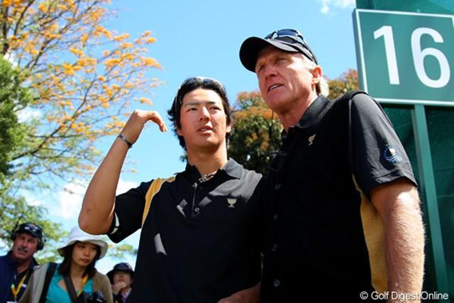 2011年 ザ・プレジデンツカップ 最終日 石川遼 グレッグ・ノーマン 09年に続きキャプテンを務めたG.ノーマンとメンバー入りした石川遼。その絆は前回に増して深まっている