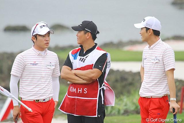2011年 オメガミッションヒルズワールドカップ 3日目 キム・ヒョンソン&朴星俊 今朝は朴から「おはようございます」と日本語で言われました。で、ヒョンソン首どうしたの?