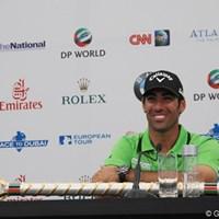 優勝インタビューでも、もちろん笑顔! 2011年 ドバイ・ワールドチャンピオンシップ 最終日 アルバロ・キロス