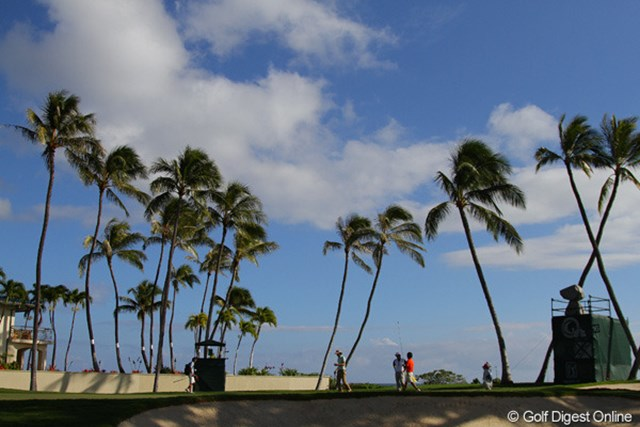 会場はワイアラエCCは全長7,060ヤード、パー70。ヤシの木々にセパレートされたフラットな海沿いのコースだ。