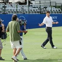 プレーヤーよりも解説者のイメージが定着したファルド。朝もTV用に解説する映像を撮影していた 2012年 ソニーオープンinハワイ 3日目 ニック・ファルド