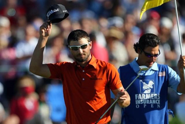2012年 ファーマーズ・インシュランスオープン3日目 カイル・スタンリー 2位に5打差をつけ、ツアー初勝利に王手をかけたK.スタンリー(Donald Miralle/Getty Images)