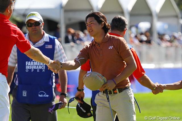 石川は次戦、「WGC アクセンチュアマッチプレー選手権」および「WGC キャデラック選手権」といった2つの世界選手権シリーズの出場権確保に照準を定めた。※写真はファーマーズ・インシュランスオープン