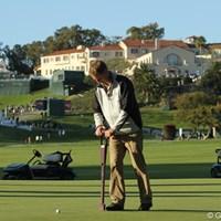 グリーンの湿度を計り、乾燥していれば散水を行うメンテナンスが行われていた 2012年 ノーザントラストオープン 2日目 10番グリーン