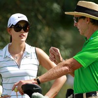 LPGAの生徒の中で最大の注目を集めるウィ。レッドベターのレッスンにも力が入る 2012年 クラフトナビスコ選手権 事前 ミッシェル・ウィ&デビッド・レッドベター