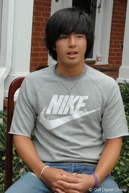 石川遼はオーガスタナショナルGCでの今年初の練習ラウンド後、報道陣に対応した