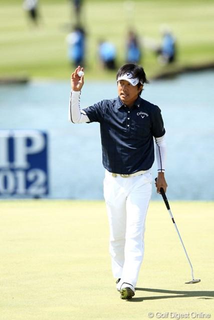 2012年 日本プロゴルフ選手権大会 日清カップヌードル杯 最終日 深堀圭一郎 最終組のひとつ前でプレーした深堀圭一郎。あと一歩が届かなかった。