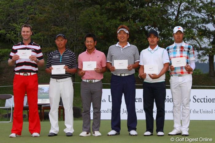 予選を突破した6人 2012年 全米オープン最終予選会 ブレンダン・ジョーンズ、谷口徹、藤田寛之、高山忠洋、J.B.パク、ドンファン