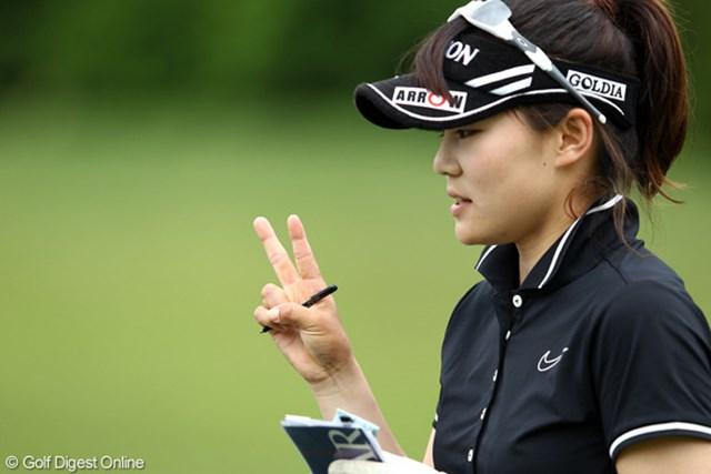 2012年 ヨネックスレディスゴルフトーナメント 初日 藤崎莉歩 途中まではけっこうスコアも良かったんですけど、イーブンスタート