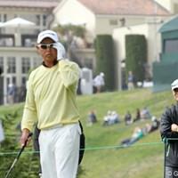 同じPL学園の出身者として谷口のラウンドについて観戦していた 2012年 全米オープン 初日 桑田真澄