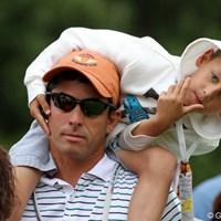 全米オープン最終日は毎年父の日にあたる。子供連れのお父さんもたくさんいた 2012年 全米オープン 最終日 父の日