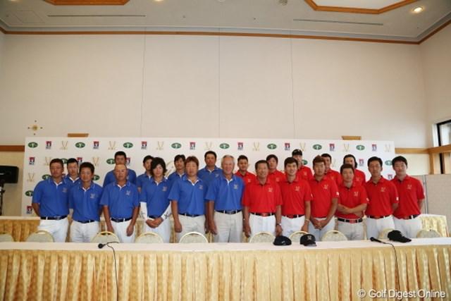 2012年 ミリオンヤードカップ 事前情報 集合写真 日本と韓国の選手10名ずつ、そして青木功、チョ・テウン両キャプテン