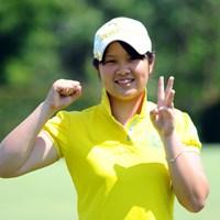 高校2年のお嬢さんです。驚異の3アンダーをマークして堂々の3位タイ!日本のジュニアは強いでっせ~! 2012年 日医工女子オープンゴルフトーナメント 初日 河野美桜