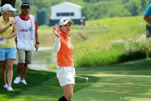 2012年 全米女子オープン 2日目 横峯さくら 最終18番で4連続バーディの締めを飾った横峯さくら。17位タイへと急浮上!