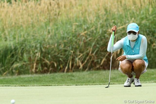 2012年 全米女子オープン 3日目 ジミン・カン 極度の花粉症?完全防備でプレー中です