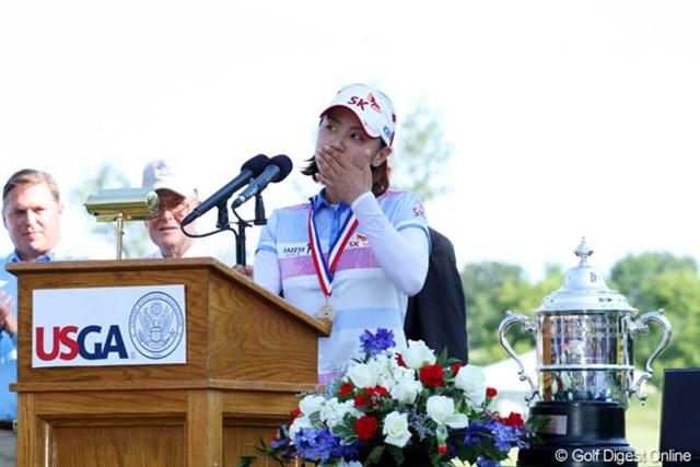 2012年 全米女子オープン 最終日 チェ・ナヨン 優勝スピーチを流ちょうな英語でこなすチェ・ナヨン