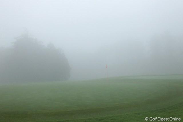 濃霧でこんな至近距離も見えない状況
