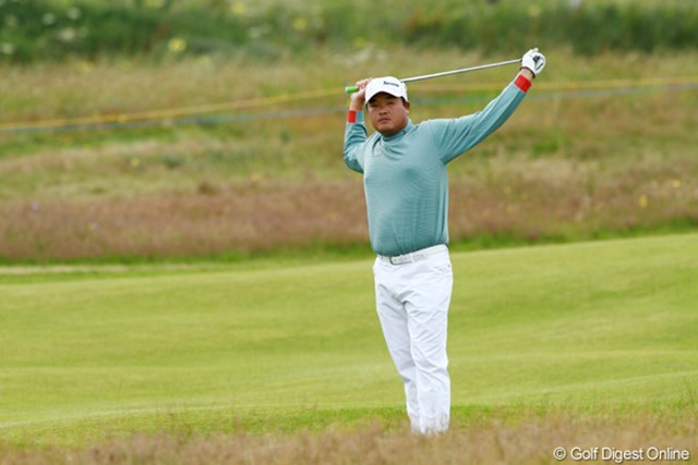 2012年 全英オープン 初日 小田孔明 15番、16番と連続バーディを奪い、+2と盛り返してホールアウト。明日もまだまだ分からない