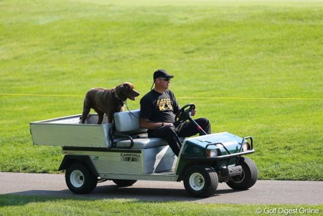 2012年 WGCブリヂストンインビテーショナル 初日 スタッフ なんかいいなぁ。犬が相棒みたいで。