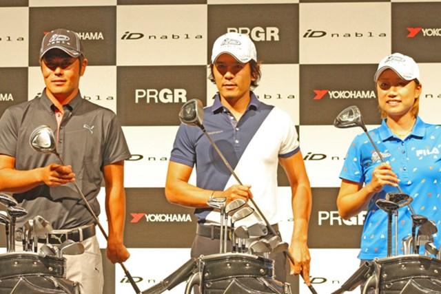プロギア契約プロの谷原秀人、矢野東、原江里菜らが、「iD nabla」の発表会に出席し「易しく飛ばせる」と新製品をPRした