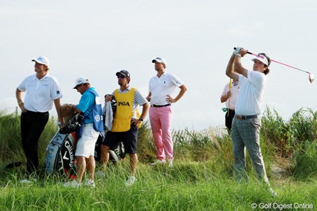 2012年 全米プロゴルフ選手権 初日 メジャーチャンプ3人 今年のマスターズ、全米オープン、全英オープンの優勝者が同じ組に。全米プロの恒例ペアリングだ