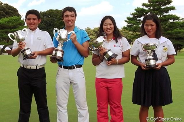 今年の日本ジュニアを制した4人。小西健太は2年ぶり2勝目となった。