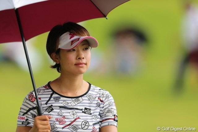 2012年 日本女子プロゴルフ選手権大会コニカミノルタ杯 初日 森田理香子 森田プロ、またTシャツ疑惑のゴルフウェアだ。