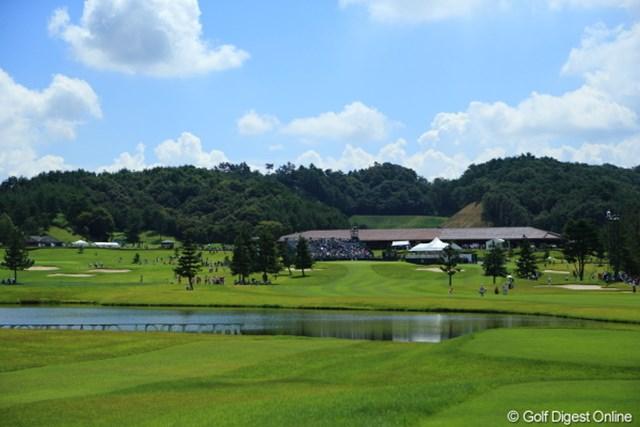 2012年 日本女子プロゴルフ選手権大会コニカミノルタ杯 2日目 18番ホール 午前中はこんなにいい天気だったのに。
