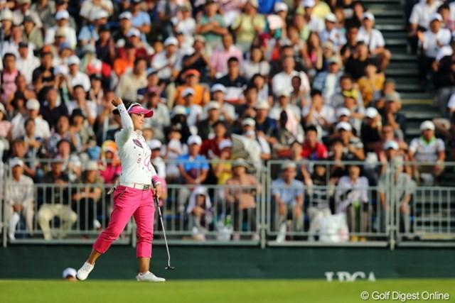 2012年 日本女子プロゴルフ選手権大会コニカミノルタ杯 3日目 有村智恵 最終18番で13mを沈めバーディ締め!3打差のリードをつけてメジャー初タイトルに王手をかけた有村智恵