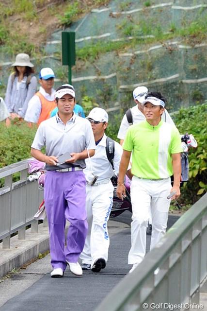 2012年 アジアパシフィックオープンゴルフチャンピオンシップ パナソニックオープン 初日 池田勇太 宮本勝昌 9アンダー&7アンダーの好スコアで終始にこやかにラウンドしていた御両人。