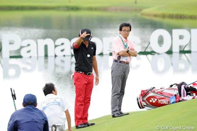 2012年 アジアパシフィックオープンゴルフチャンピオンシップ パナソニックオープン 最終日 石川遼 3バーディ、1ダボ、4ボギーと、まったくエエとこなしの1日でした…。締めは最終ホール、パナソニックの看板の前での池ポチャでした。あぁ遼君…。、36位T、