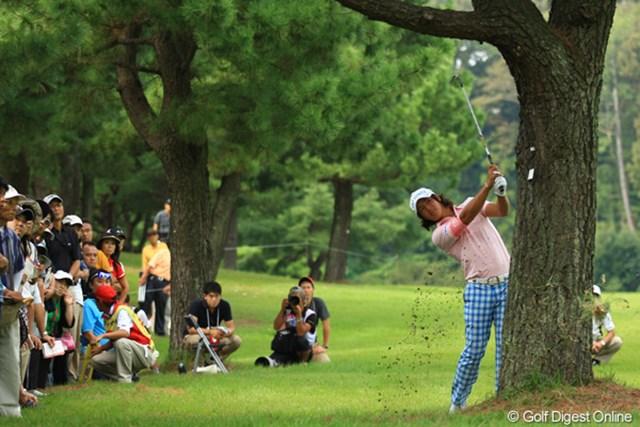 2012年 キヤノンオープン 3日目 石川遼 3番ティショットは大きく右へ。でも、この木の近くからのセカンドショットは、「遼くんの技を見た!」って感じで凄かったです。