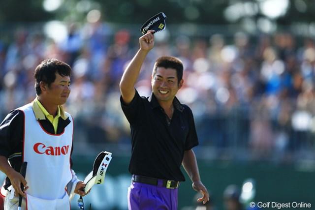 満面の笑みで1年ぶりの勝利を喜んだ池田勇太。