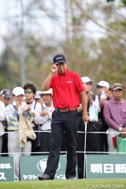 今年の日本アマチャンピオン、小袋秀人君。予選ラウンドは石川遼、宮里優作と共に回ります。