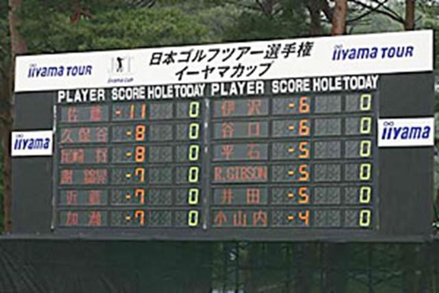 2002年 日本ゴルフツアー選手権イーヤマカップ 3日目 スタート直前スコアボード