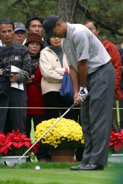 2002年 ダンロップフェニックストーナメント 事前情報 タイガー・ウッズ 腰をかがめて、グリップは股間まで下げる。そしてスナップを効かせて打つ。青木功のスウィングを真似するタイガー。