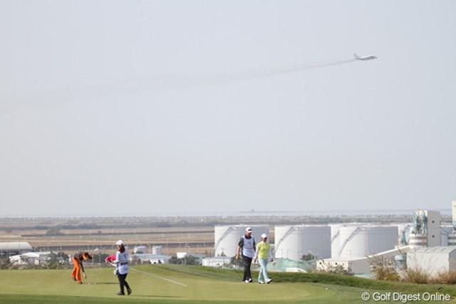 2012年 LPGAハナバンク選手権 初日 コース このコース、とっても空港の近くなんです