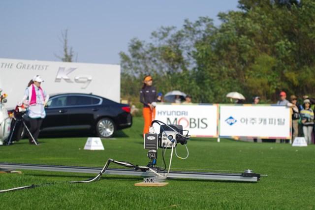 2012年 LPGAハナバンク選手権 初日 カメラ こんな、オートマチックカメラがありました。