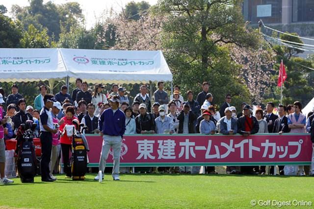 東建ホームメイトカップ1日目 国内復帰後初戦、初日を迎えた田中秀道。スタート前は笑顔だったが・・・