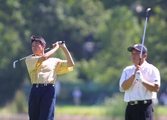 2002年 全米プロゴルフ選手権 事前情報 横尾要 丸山茂樹 練習ラウンド中の横尾と丸山。オルタネート(補欠)の3位で欠場者待ちの横尾。明日の最終組が出発するまで待機できる。