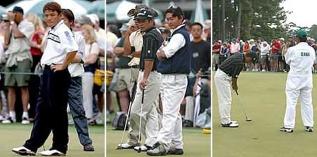 日本人選手達(練習グリーンにて) 左)丸山茂樹 中央・右)伊沢利光