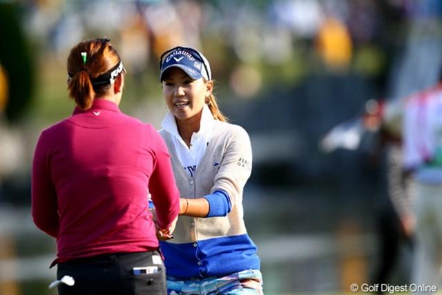 2012年 伊藤園レディスゴルフトーナメント 初日 上田桃子 トップと4打差、良い笑顔してるじゃないですか
