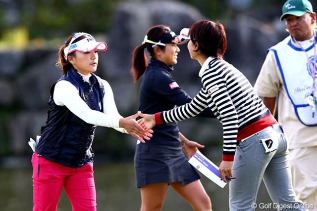 2012年 伊藤園レディスゴルフトーナメント 初日 有村智恵 初日、有村、森田、藤本の人気3人組が同組でラウンド、さて3人のスコアも気になります