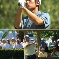 上)少年男子・個人1位 中島徹(山梨県代表)  下)地元出身で期待がかかった山本隆允(高知県) 2002年 第57回国民体育大会ゴルフ最終日