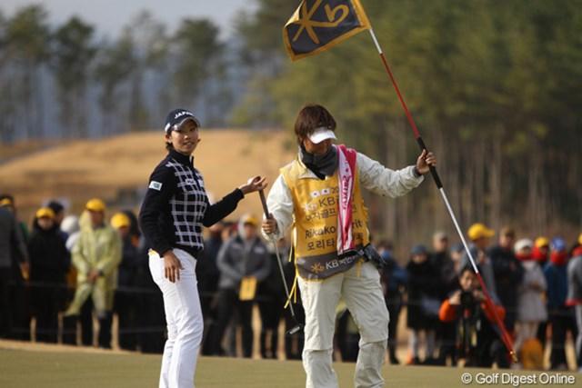 2012年 日韓女子プロゴルフ対抗戦 最終日 森田理香子 今日は敗北も昨日は唯一の勝利をマーク。茂木キャプテンがMVP候補として名前を挙げていましたよ。