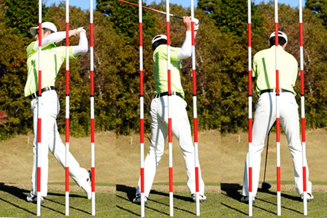 2012年 「週刊ゴルフダイジェスト」(2012年12月18日号)より お尻を暴れさせなければ、バランスのいいスウィングになる