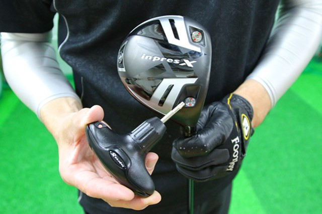 インプレスX RMX ドライバー ヤマハ初のヘッド着脱式。13g×2、4g、22gの重りが標準装備されている