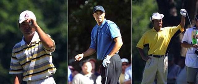 2001年 全米オープン 2日目  左から)伊沢利光、タイガー・ウッズ、片山晋呉